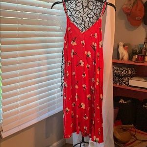 Red floral spaghetti strap sundress